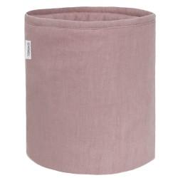 Lniany mały koszyk dusty pink